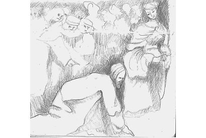 Christ and the woman taken in adultery. After Breugel
